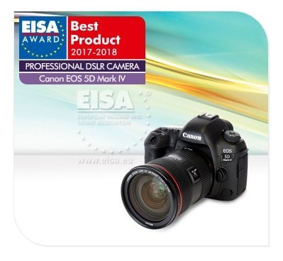 Canon EOS 5D IV is one of the best professional DSLR cameras according to EISA.