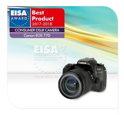 Canon EOS 77D is one of the best consumer DSLR cameras for 2018 according to EISA.