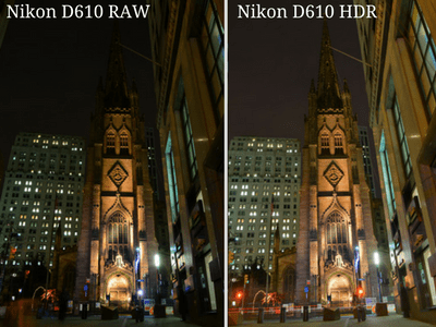 Nikon D610 HDR settings in low-light, also a great camera for portrait and landscape photography in 2018.