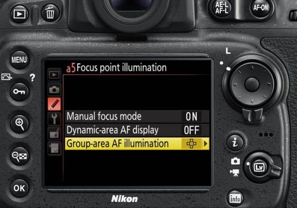 An image of autofocus settings in Nikon D810.