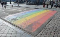 An image of the rainbow (LGBTQ) crosswalk in Netherlands (as an example for street photographers).