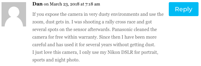 A comment on the dust issue in Panasonic LX100 cameras.