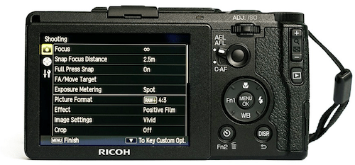 Focusing system and shooting menu in Ricoh GR II (for street photography).