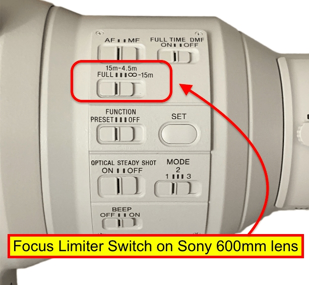 Finding a focus limiter on Sony 600mm f/4 lens.