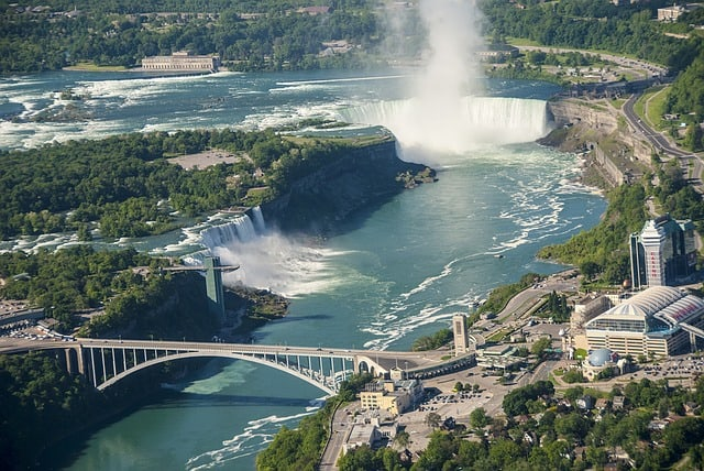 A shot of Niagara Falls from above (US and Canada sides)