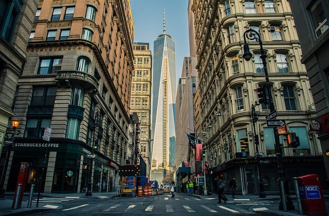 A shot of the One World Trade Center in New York (from the ground)
