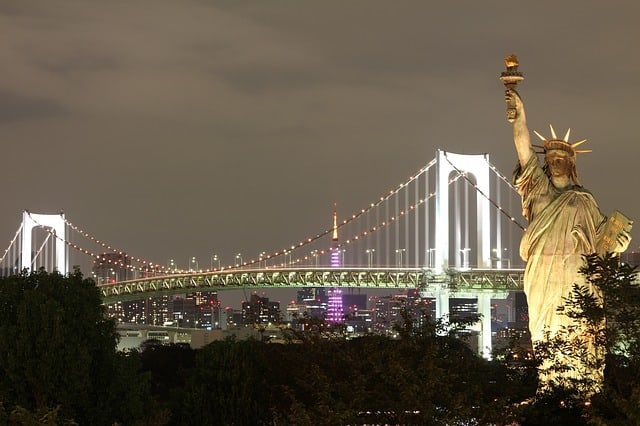 A shot of New York's Statue of Liberty at night.